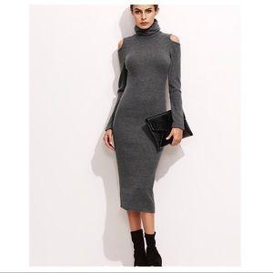 Dresses & Skirts - Open Shoulder Ribbed Pencil Dress